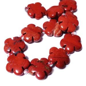 Margele jasp rosu, floare 15x6mm 1 buc