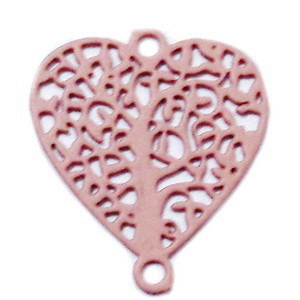 Conector/link otel inoxidabil 430, roz mat, inima cu copacul vietii, 14.5x13x0.5mm 1 buc
