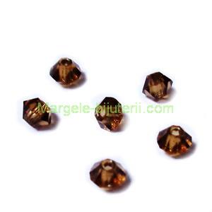 Margele Preciosa biconice Smoked Topaz - 3mm 1 buc