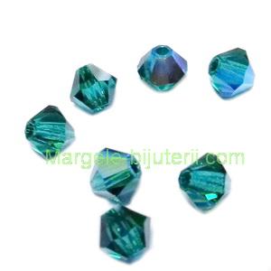 Margele Preciosa biconice Emerald AB - 4mm 1 buc