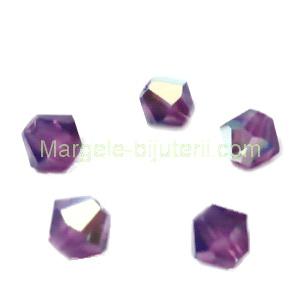 Margele Preciosa biconice Amethyst Opal AB - 4mm 1 buc