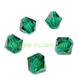 Margele Preciosa biconice Emerald - 6mm 1 buc