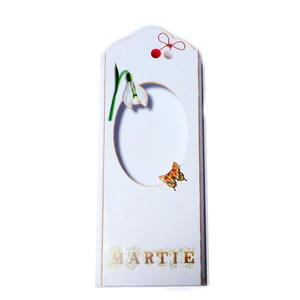 Cutie carton martisor, alb cu snur si ghiocei, 10x4.5x1cm 10 buc