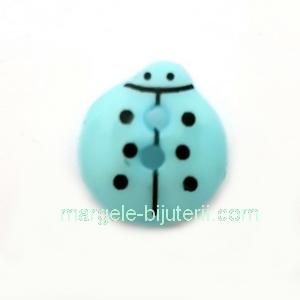 Nasturi plastic bleu, gargarita  13x12x4.5mm 1 buc