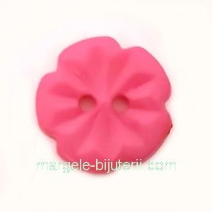Nasturi plastic fucsia, floare 15x2.5mm 1 buc