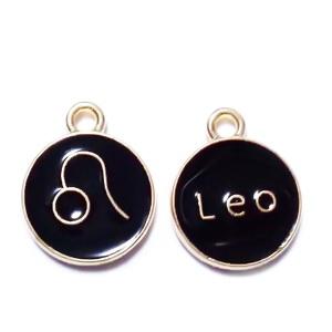 Pandantiv metalic emailat, auriu cu negru, LEU, 15x12x2mm 1 buc