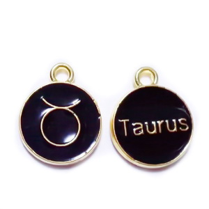 Pandantiv metalic emailat, auriu cu negru, TAUR, 15x12x2mm 1 buc