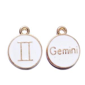 Pandantiv metalic emailat, auriu cu alb, GEMENI, 15x12x2mm 1 buc