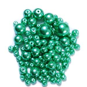 Mix perle sticla, verde deschis, 4-12 mm 25 g