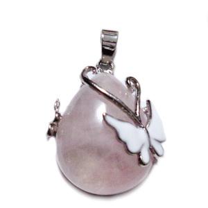 Pandantiv argintiu inchis cu cabochon lacrima cuart roz si fluturas emailat, 30x23.5x12mm 1 buc