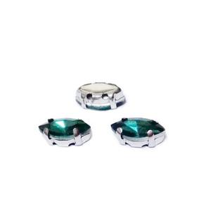 Margele montee rhinestone, sticla, ochi de cal, verde smarald, 10x5x4mm 1 buc