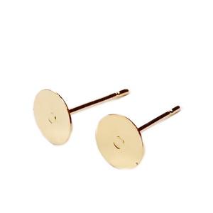 Tortite cercei cu tija, otel inoxidabil 201, auriu, platou 6mm, tija 10x0.7mm 2 buc