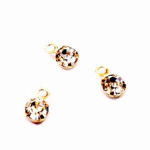 Pandantiv auriu Rhinestone, placat cu aur, 5.5x3.5x2.5mm 1 buc
