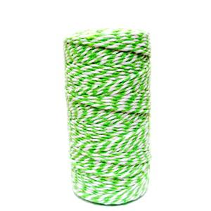 Snur bumbac rasucit, verde cu alb, grosime 1.5~2mm 1 m
