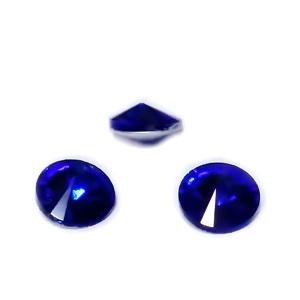Rivoli Rhinestone, albastre, placate argintiu pe verso, 6x3mm 1 buc