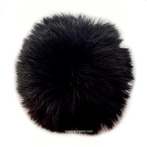 Pandantiv rotund din imitatie blana de iepure, cu elastic pt. prindere, negru, 55~74mm 1 buc