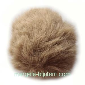 Pandantiv rotund din imitatie blana de iepure, cu elastic pt. prindere, bej, 55~74mm 1 buc