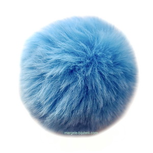 Pandantiv rotund din imitatie blana de iepure, cu elastic pt. prindere, bleu, 55~74mm 1 buc