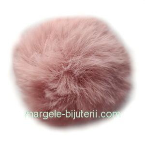 Pandantiv rotund din imitatie blana de iepure, cu elastic pt. prindere, roz-maro, 55~74mm 1 buc