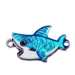 Conector / link metalic, emailat, bleu, rechin 16x28.5x1.5mm 1 buc