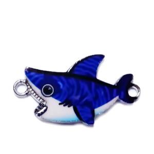 Conector / link metalic, emailat, albastru, rechin 16x28.5x1.5mm 1 buc