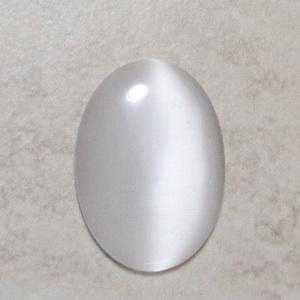 Cabochon ochi de pisica alb, 25x18x3~4mm 1 buc