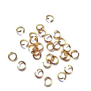 Zale simple otel inoxidabil auriu, intredeschise, 4x0.6mm cca 50 buc
