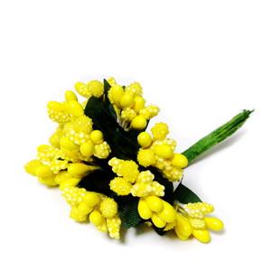 Buchet 12 flori galbene, din stamine, 7-8 cm 1 set
