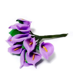 Buchet 12 cale mov, floare burete si codita sarma, 8-9cm 1 set