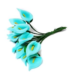 Buchet 12 cale turcoaz, floare burete si codita sarma, 8-9cm 1 set