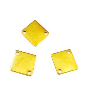 Conector/link otel inoxidabil auriu, rombic, 12.5x12.5x0.7mm, latura 9.5mm 1 buc
