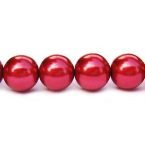 Perle sticla rosu inchis, 10 mm 10 buc