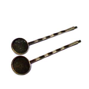 Clama prindere par, bronz, 55x2x14mm, pt.cabochon de 12mm 1 buc