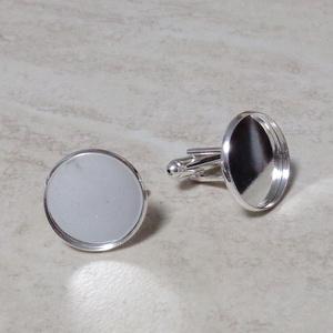 Baza cabochon, buton, argintiu, 20x18mm, interior 18mm 1 buc
