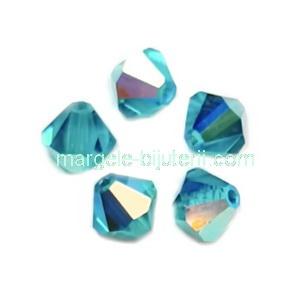 Margele Preciosa biconice Blue Zircon AB - 6mm 1 buc