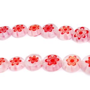 Margele millefiori, albe cu flori rosii, plate, 8x4mm 1 buc
