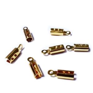 Capat prindere snur, otel inoxidabil 304, auriu, 10x3x2.5mm, interior 2-2.5mm 1 buc