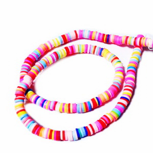 Mix margele polymer, culori diverse, 5-6x0.5~1mm, sir 44 cm(380-400bc) 1 buc