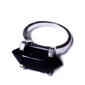 Inel pe baza argintiu inchis, fixa, 18mm,  cu piatra soarelui bleu cu 2 varfuri de 20x8mm 1 buc