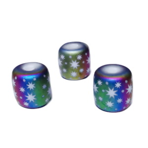 Margele sticla, electroplacate multicolor, frosted, cu stele, 12x12mm 1 buc