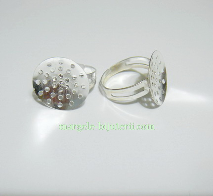Baza inel argintiu tp. tesut, platou 18 mm 1 buc