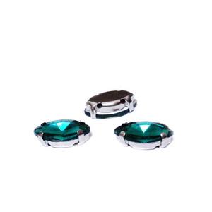 Margele montee rhinestone, sticla, ochi de cal, verde smarald, 8x4x3.5mm 1 buc