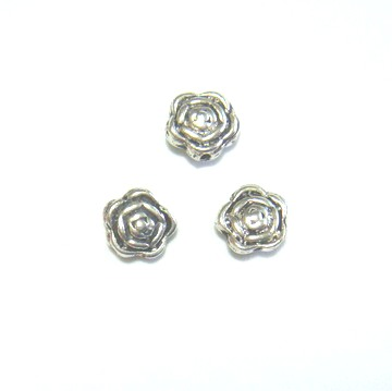 Distantier argintiu antichizat trandafir, 7x4 mm 1 buc