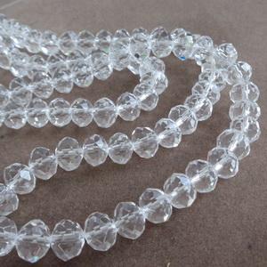 Margele sticla multifete transparente 8x6mm 1 buc
