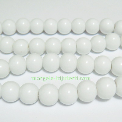 Margele sticla sferice, albe, 8mm 10 buc