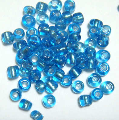Margele nisip, albastru deschis, cu miez argintiu, 4 mm 20 g