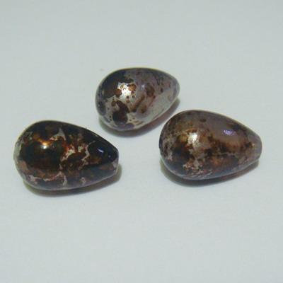Margele plastic lacrima maro cu argintiu  15x10mm 1 buc
