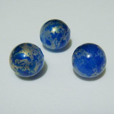 Margele plastic albastre cu argintiu 12mm 1 buc