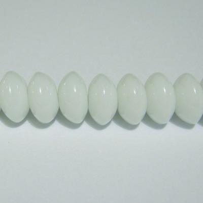 Margele sticla rondel albe 8x6mm 10 buc