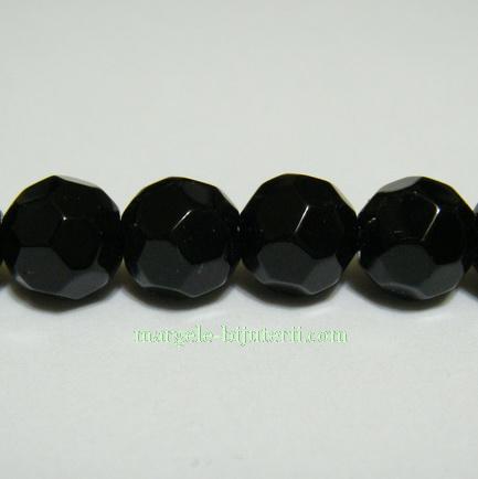Margele sticla multifete negre 8mm 1 buc